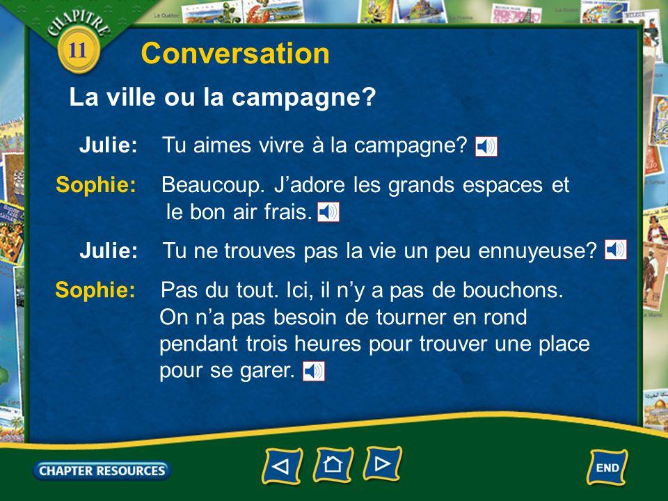 11 Julie: Tu aimes vivre à la campagne.Conversation Sophie: Beaucoup.