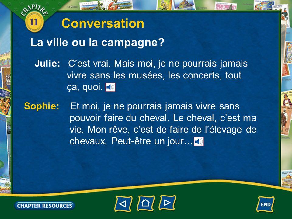 11 Conversation Julie: Tu aimes vivre à la campagne.