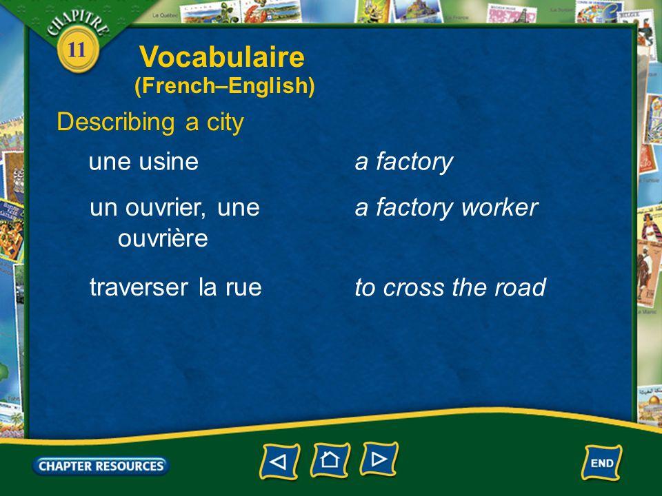 11 Describing a city un passage pour piétons a crosswalk un bâtimenta building une toura tall building, a tower un bureauan office Vocabulaire (French–English)