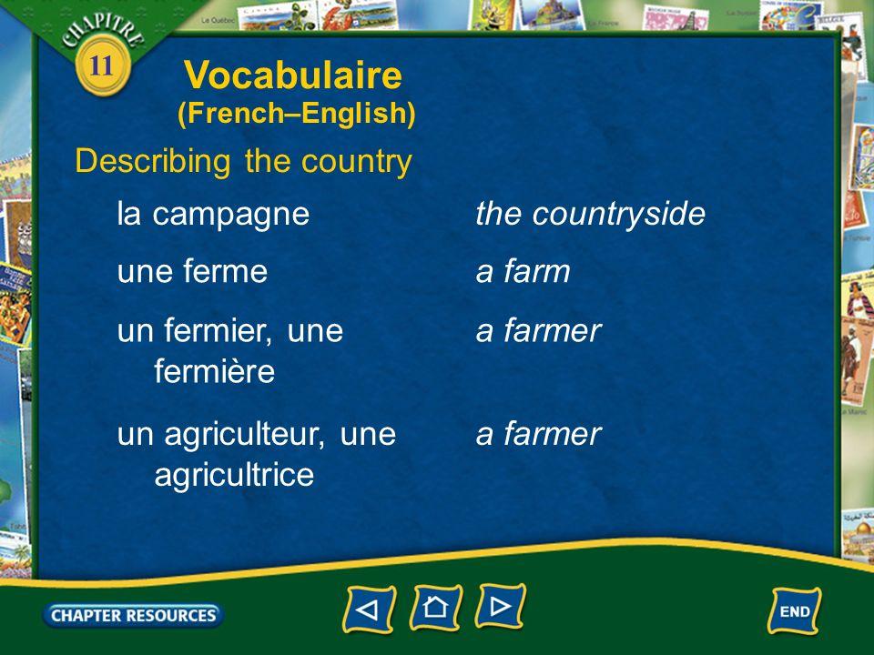 11 Giving directions à côté debeside en face defacing Vocabulaire (French–English)