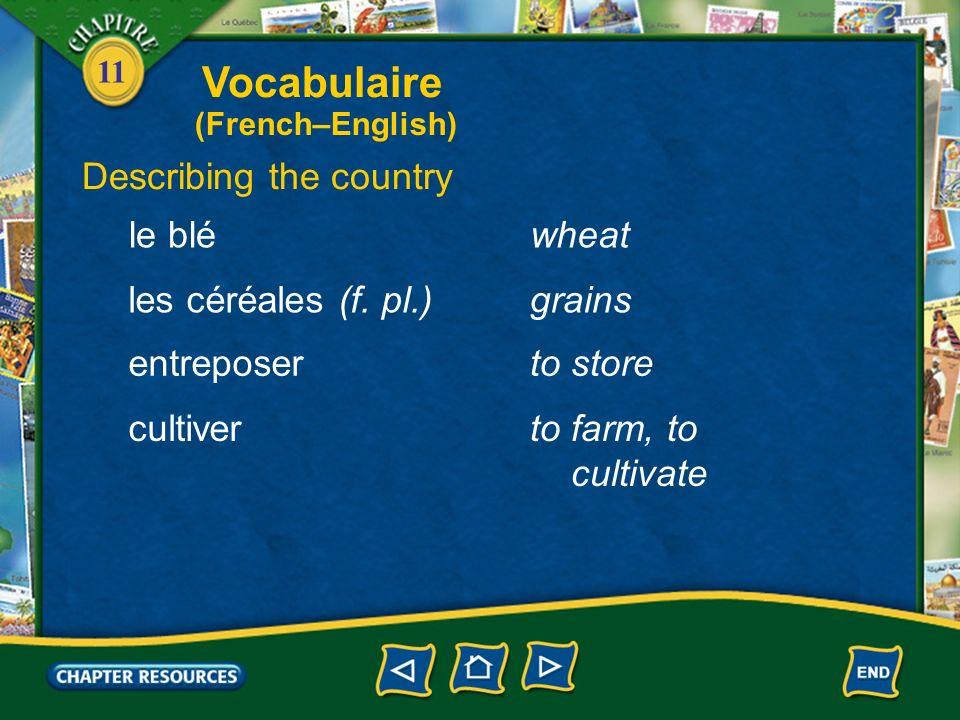 11 Describing the country un hangara shed du matériel agricolefarm equipment une récoltea harvest la terreland une établea stable Vocabulaire (French–English)