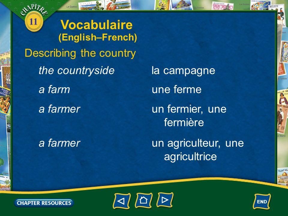 11 Giving directions à côté debeside en face defacing Vocabulaire (English–French)