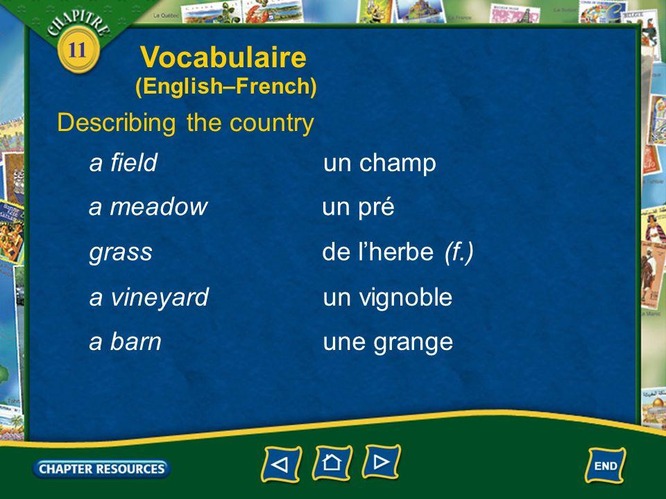 11 Describing the country la campagnethe countryside une fermea farm un fermier, une fermière a farmer un agriculteur, une agricultrice a farmer Vocabulaire (English–French)