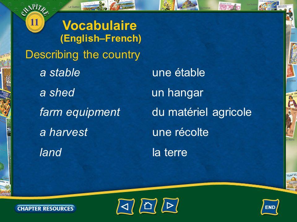 11 Describing the country un champa field un préa meadow de lherbe (f.)grass un vignoblea vineyard une grangea barn Vocabulaire (English–French)