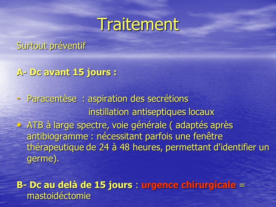 Traitement Surtout préventif A- Dc avant 15 jours : - Paracentèse : aspiration des secrétions instillation antiseptiques locaux instillation antisepti