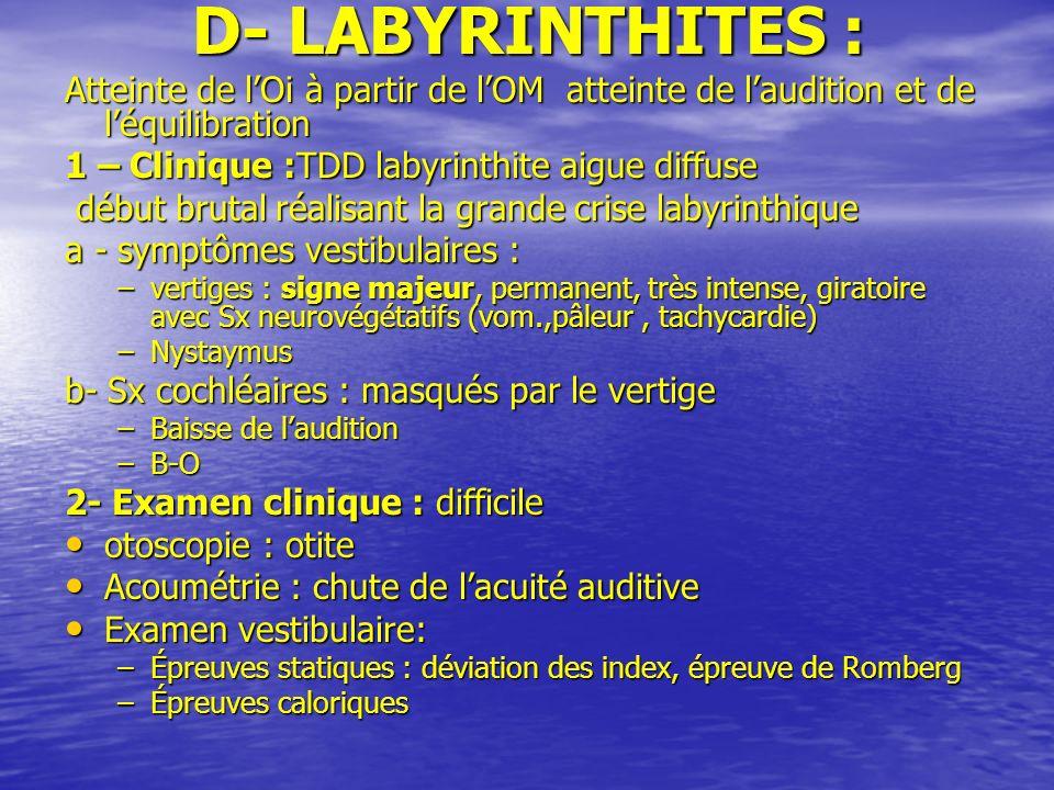 D- LABYRINTHITES : Atteinte de lOi à partir de lOM atteinte de laudition et de léquilibration 1 – Clinique :TDD labyrinthite aigue diffuse 1 – Cliniqu