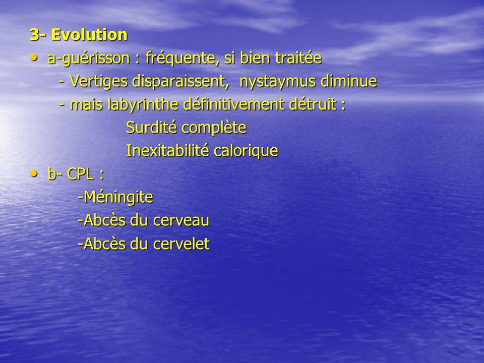 3- Evolution a-guérisson : fréquente, si bien traitée a-guérisson : fréquente, si bien traitée - Vertiges disparaissent, nystaymus diminue - Vertiges