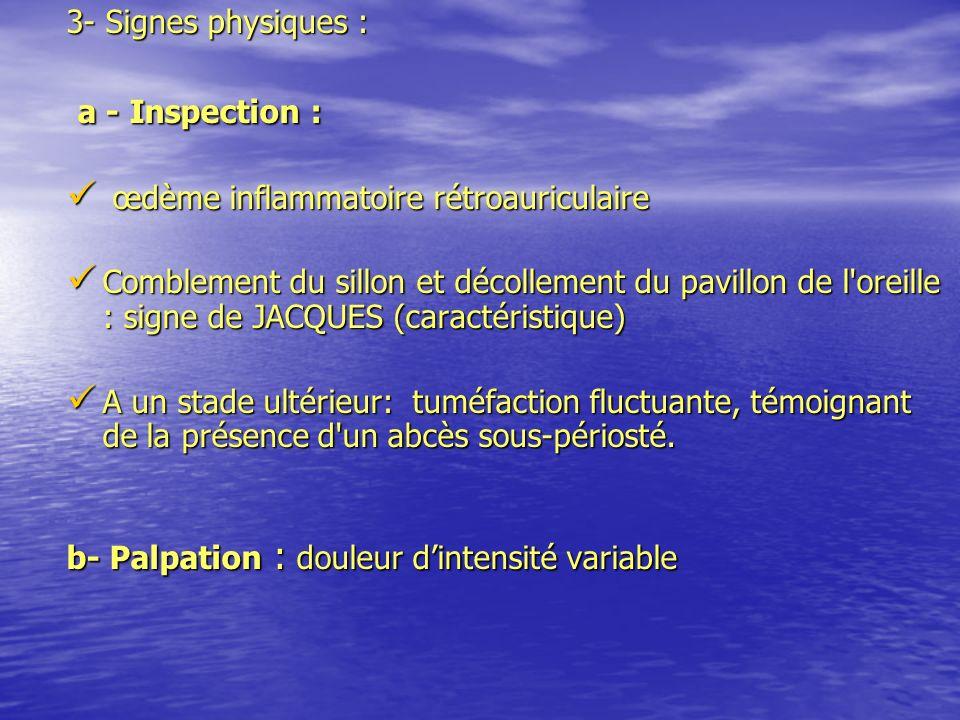 3- Signes physiques : a - Inspection : a - Inspection : œdème inflammatoire rétroauriculaire œdème inflammatoire rétroauriculaire Comblement du sillon