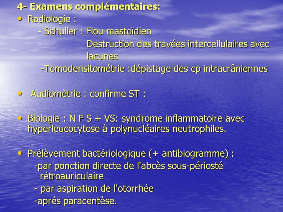 4- Examens complémentaires: Radiologie : Radiologie : - Schuller : Flou mastoïdien - Schuller : Flou mastoïdien Destruction des travées intercellulair