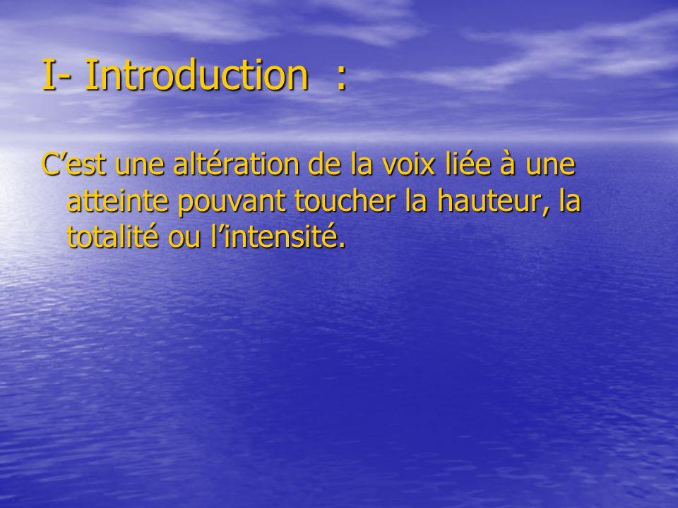 I- Introduction : Cest une altération de la voix liée à une atteinte pouvant toucher la hauteur, la totalité ou lintensité.