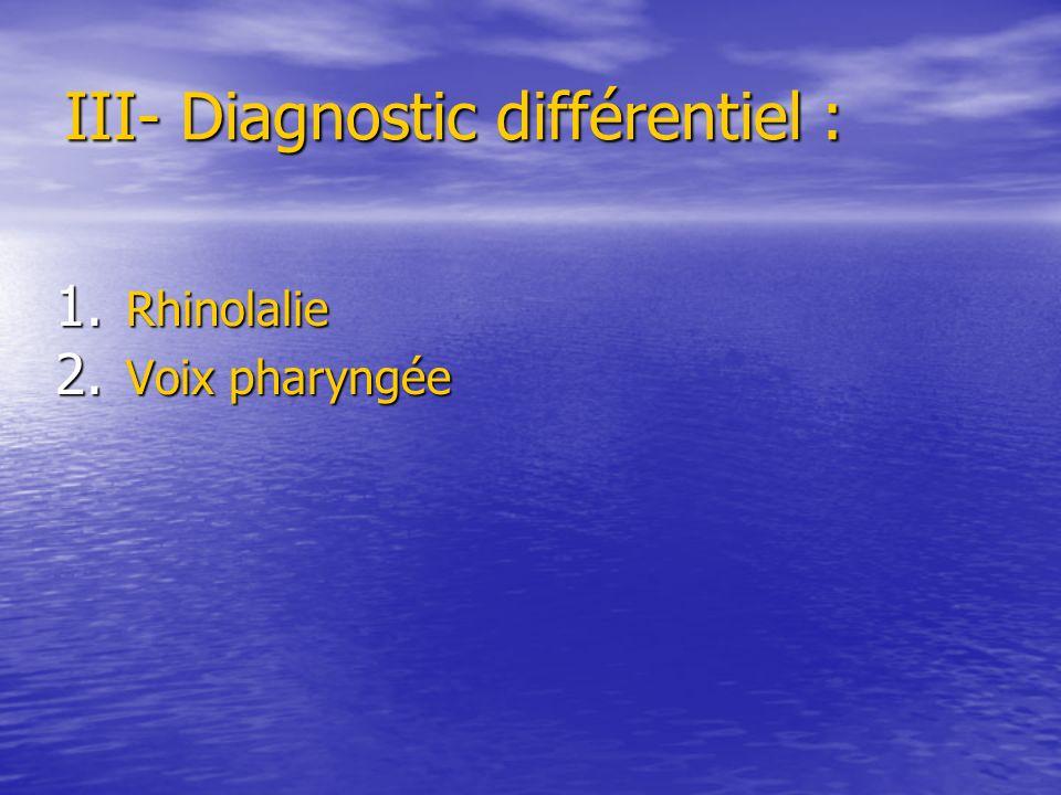 III- Diagnostic différentiel : 1. Rhinolalie 2. Voix pharyngée
