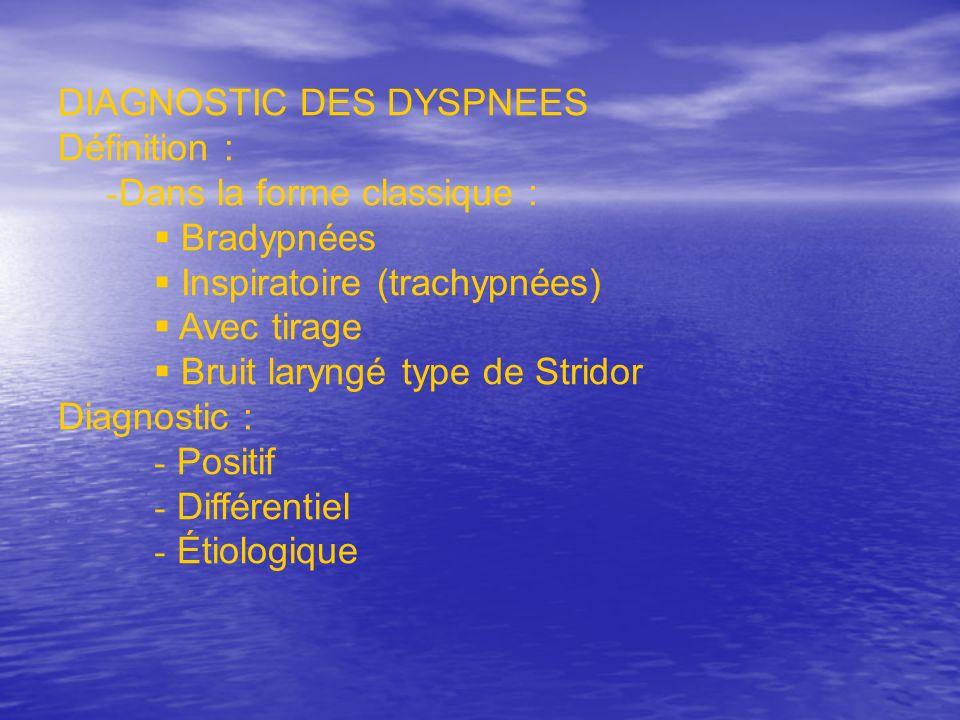 DIAGNOSTIC DES DYSPNEES Définition : - Dans la forme classique : Bradypnées Inspiratoire (trachypnées) Avec tirage Bruit laryngé type de Stridor Diagn