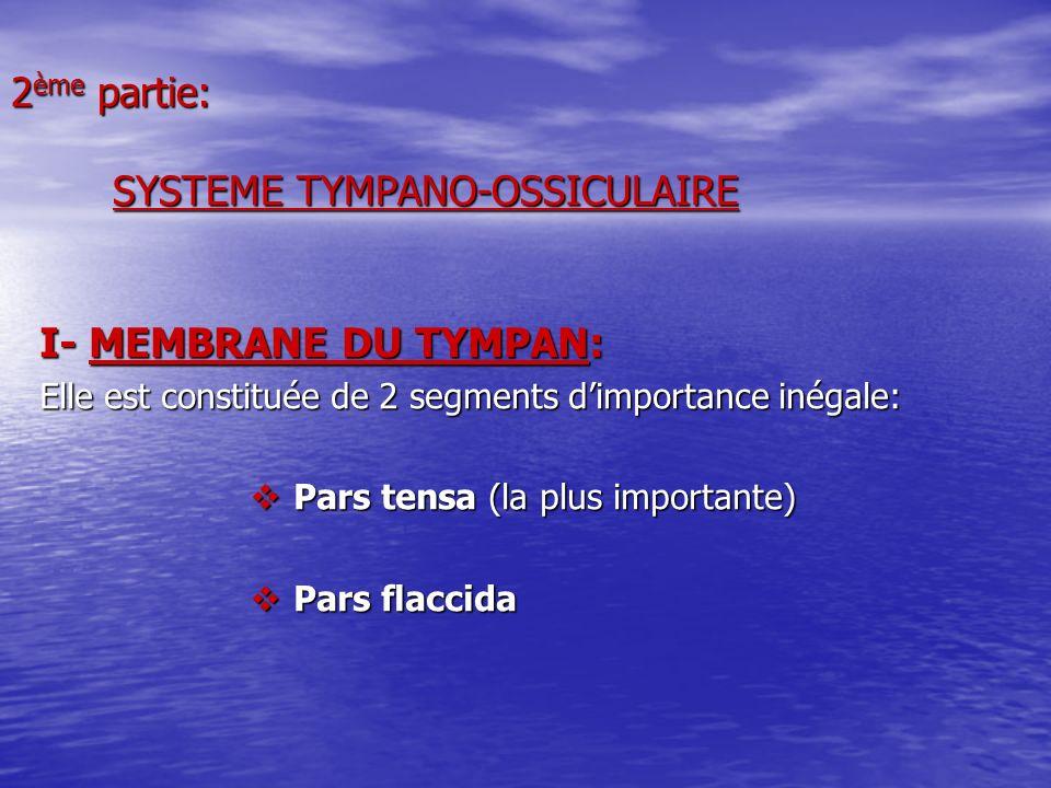 2 ème partie: SYSTEME TYMPANO-OSSICULAIRE I- MEMBRANE DU TYMPAN: Elle est constituée de 2 segments dimportance inégale: Pars tensa (la plus importante