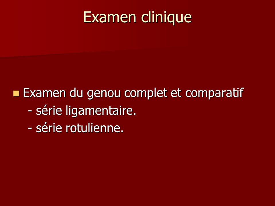 Examen clinique Examen du genou complet et comparatif Examen du genou complet et comparatif - série ligamentaire. - série ligamentaire. - série rotuli