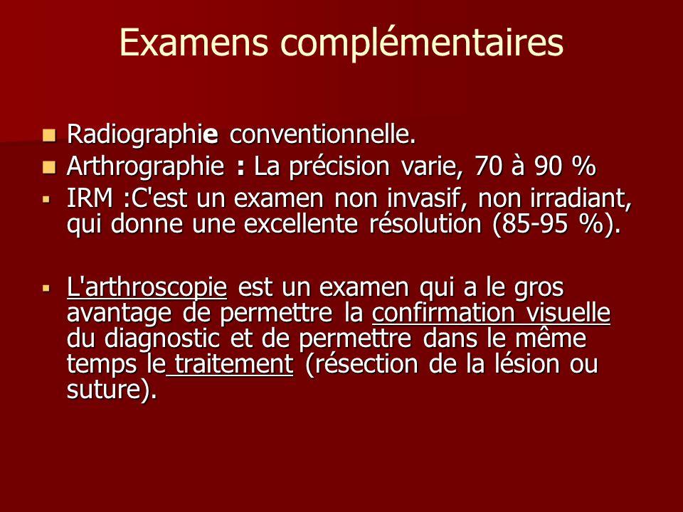 Examens complémentaires Radiographie conventionnelle. Radiographie conventionnelle. Arthrographie : La précision varie, 70 à 90 % Arthrographie : La p