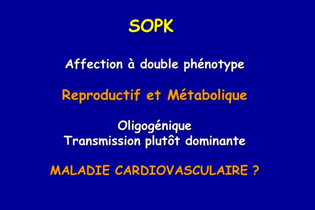 SOPK Affection à double phénotype Reproductif et Métabolique Oligogénique Transmission plutôt dominante MALADIE CARDIOVASCULAIRE ?