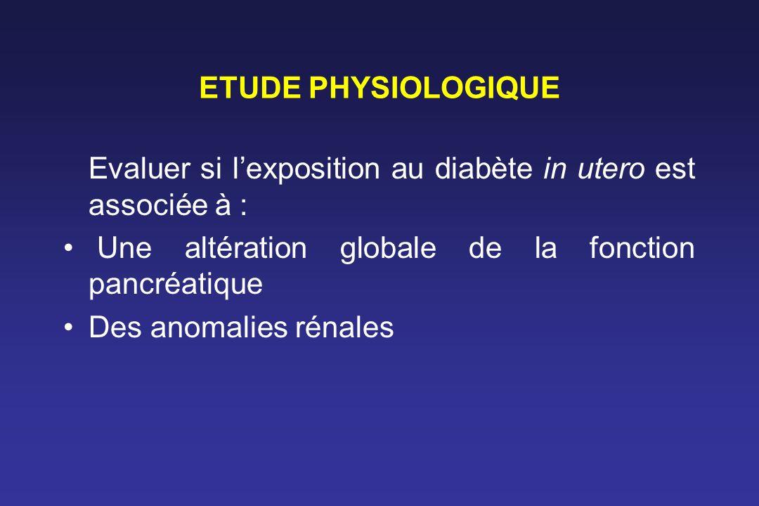 ETUDE PHYSIOLOGIQUE Evaluer si lexposition au diabète in utero est associée à : Une altération globale de la fonction pancréatique Des anomalies rénal