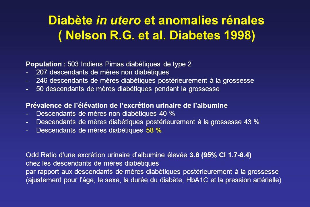 Diabète in utero et anomalies rénales ( Nelson R.G. et al. Diabetes 1998) Population : 503 Indiens Pimas diabétiques de type 2 -207 descendants de mèr