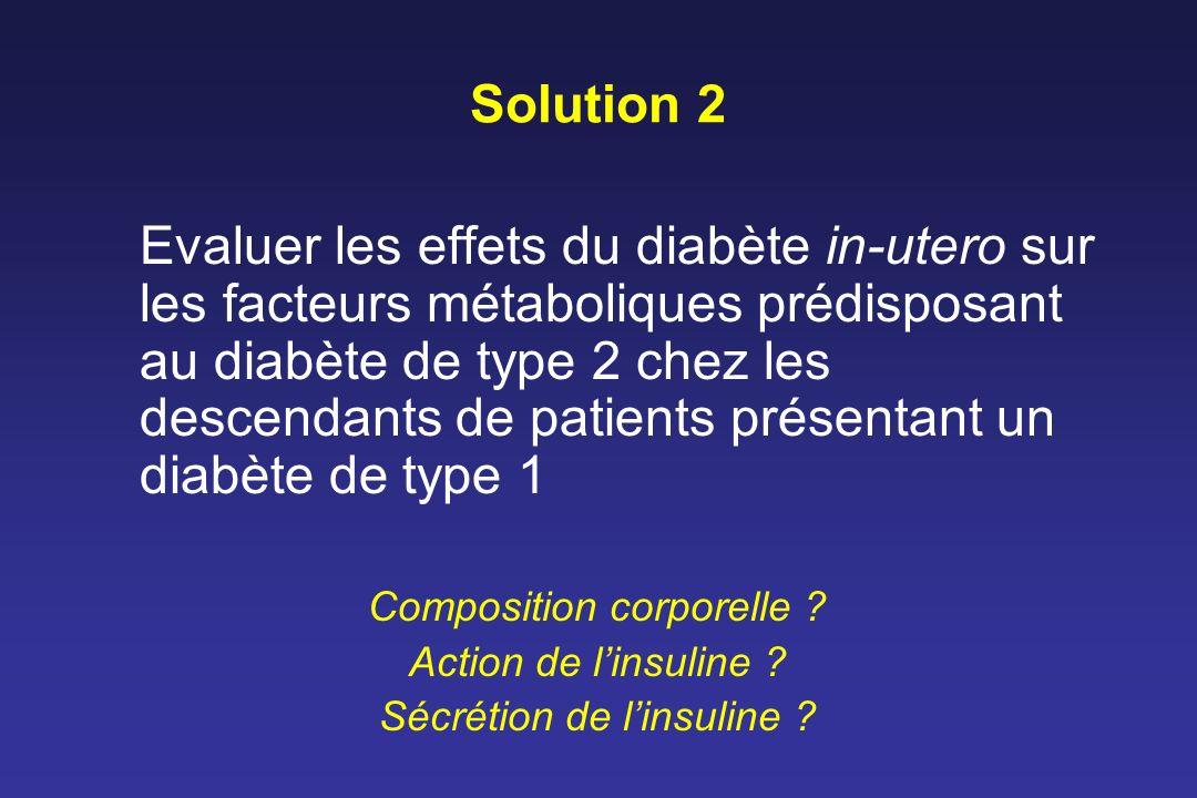 Solution 2 Evaluer les effets du diabète in-utero sur les facteurs métaboliques prédisposant au diabète de type 2 chez les descendants de patients pré