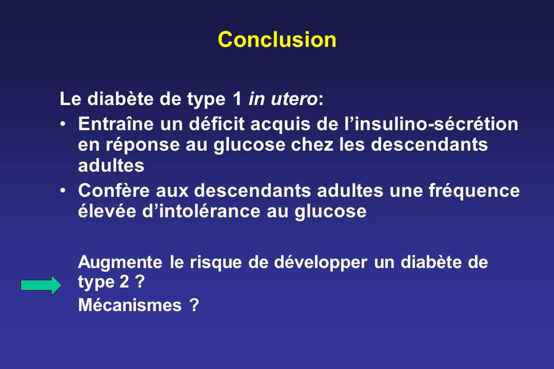 Conclusion Le diabète de type 1 in utero: Entraîne un déficit acquis de linsulino-sécrétion en réponse au glucose chez les descendants adultes Confère