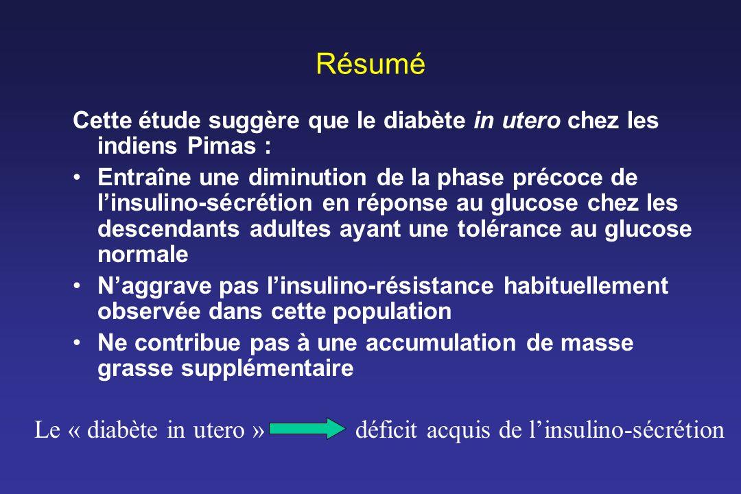 Résumé Cette étude suggère que le diabète in utero chez les indiens Pimas : Entraîne une diminution de la phase précoce de linsulino-sécrétion en répo