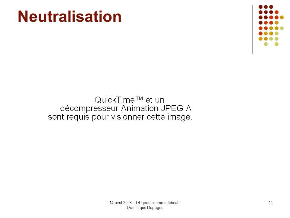 14 avril 2008 - DU journalisme médical - Dominique Dupagne 11 Neutralisation