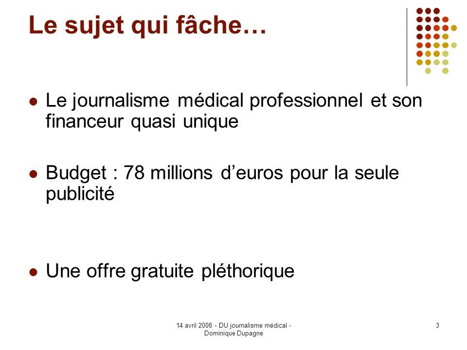 14 avril 2008 - DU journalisme médical - Dominique Dupagne 4 Dépenses promotionnelles IP France (2004) Montant M% dépenses Information médicale119186,6 - visite médicale 1049 75,8 - congrès 119 8,6 - échantillons 30 2,2 Publicité18613,4 - Presse médicale 78 5,7 - Autres frais 106 7,7 Totaux1365100 % Dépenses 2004 en France - Source http://www.leem.org/htm/themes/dossier.asp?id_dossier=103&id_article=418