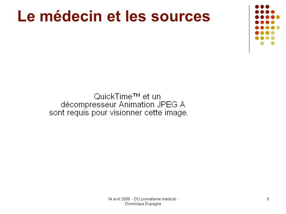 14 avril 2008 - DU journalisme médical - Dominique Dupagne 9 Le médecin et les sources