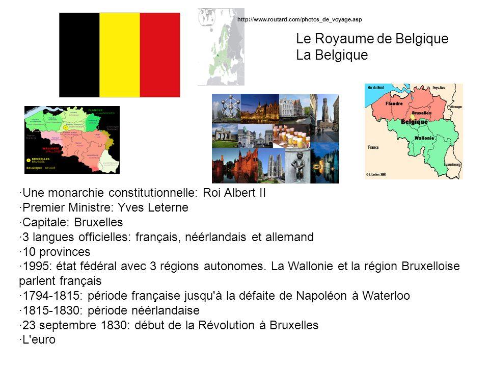 Le Royaume de Belgique La Belgique ·Une monarchie constitutionnelle: Roi Albert II ·Premier Ministre: Yves Leterne ·Capitale: Bruxelles ·3 langues off