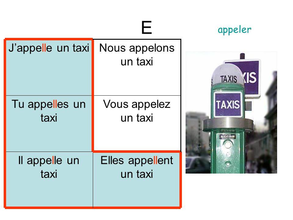 E Elles appellent un taxi Il appelle un taxi Vous appelez un taxi Tu appelles un taxi Nous appelons un taxi Jappelle un taxi appeler