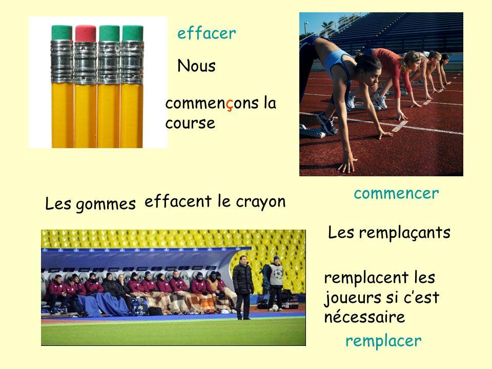 Les gommes effacent le crayon Les remplaçants remplacent les joueurs si cest nécessaire Nous commençons la course effacer remplacer commencer