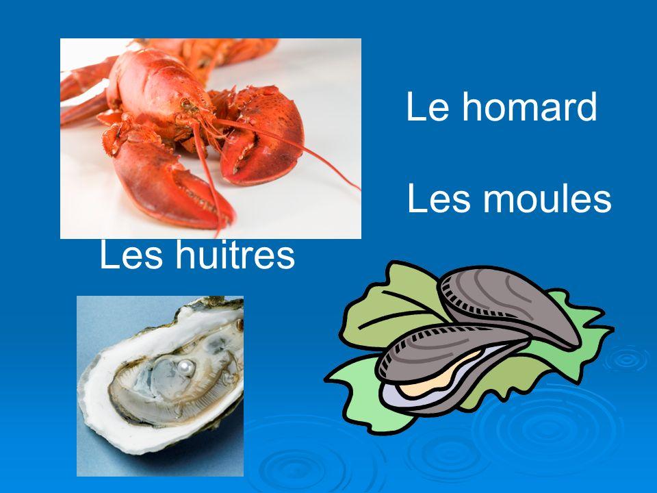 Le homard Les moules Les huitres