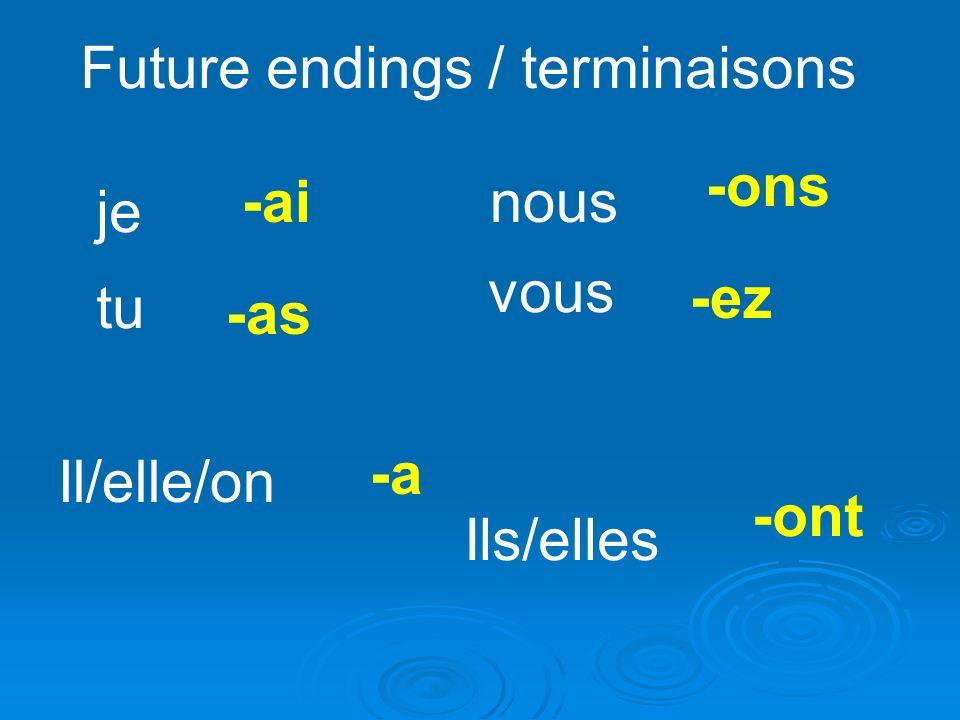 Future endings / terminaisons je -ai tu -as Il/elle/on -a nous -ons vous -ez Ils/elles -ont