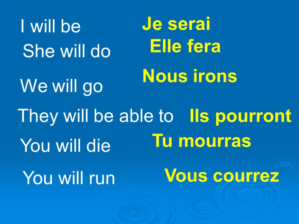 I will be Je serai She will do Elle fera We will go Nous irons They will be able toIls pourront You will die Tu mourras You will run Vous courrez