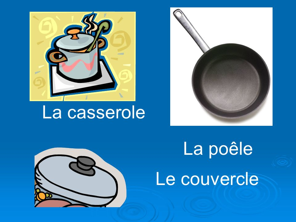 La casserole La poêle Le couvercle