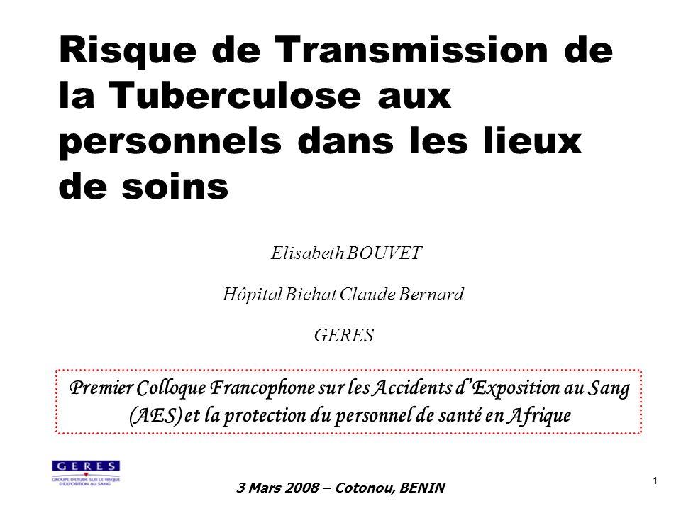 3 Mars 2008 – Cotonou, BENIN 1 Risque de Transmission de la Tuberculose aux personnels dans les lieux de soins Elisabeth BOUVET Hôpital Bichat Claude