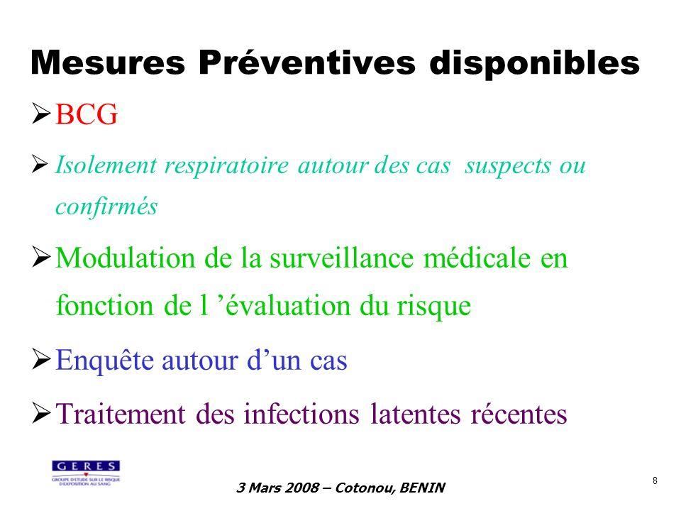 3 Mars 2008 – Cotonou, BENIN 8 Mesures Préventives disponibles BCG Isolement respiratoire autour des cas suspects ou confirmés Modulation de la survei
