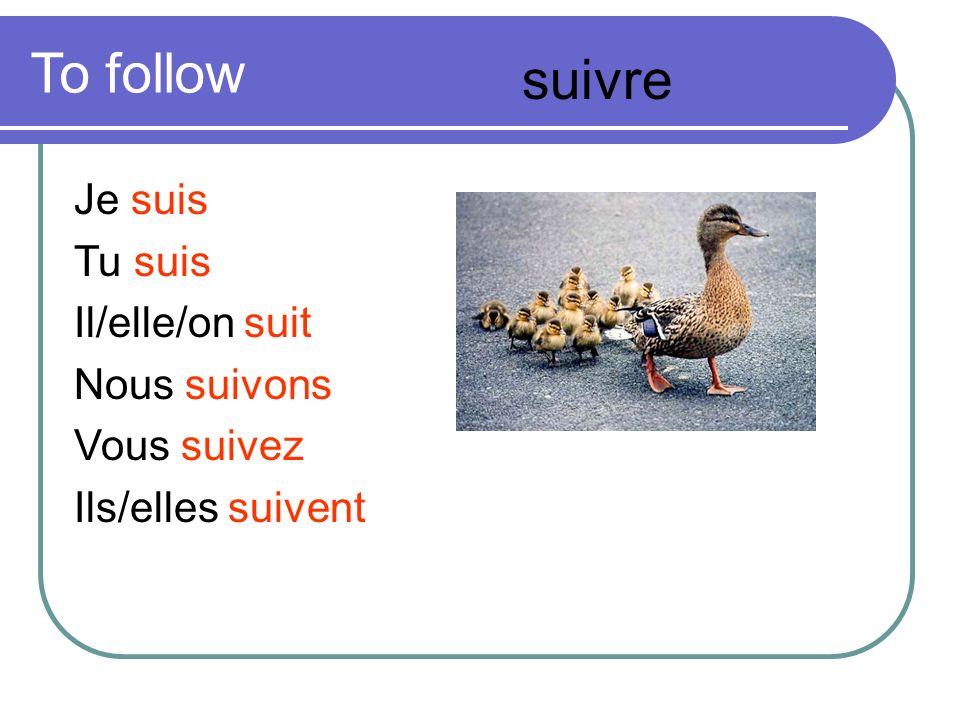 To follow Je suis Tu suis Il/elle/on suit Nous suivons Vous suivez Ils/elles suivent suivre