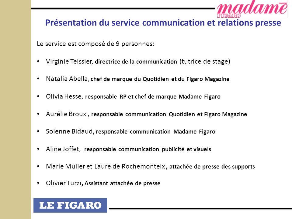 Présentation du service communication et relations presse Le service est composé de 9 personnes: Virginie Teissier, directrice de la communication (tu
