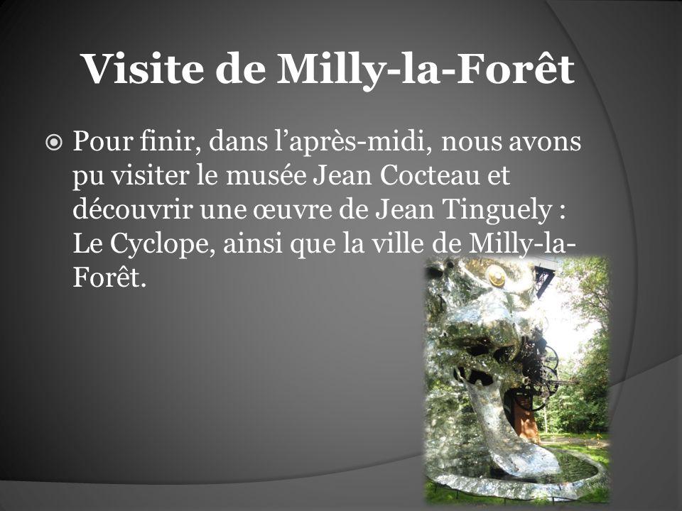 Visite de Milly-la-Forêt Pour finir, dans laprès-midi, nous avons pu visiter le musée Jean Cocteau et découvrir une œuvre de Jean Tinguely : Le Cyclop