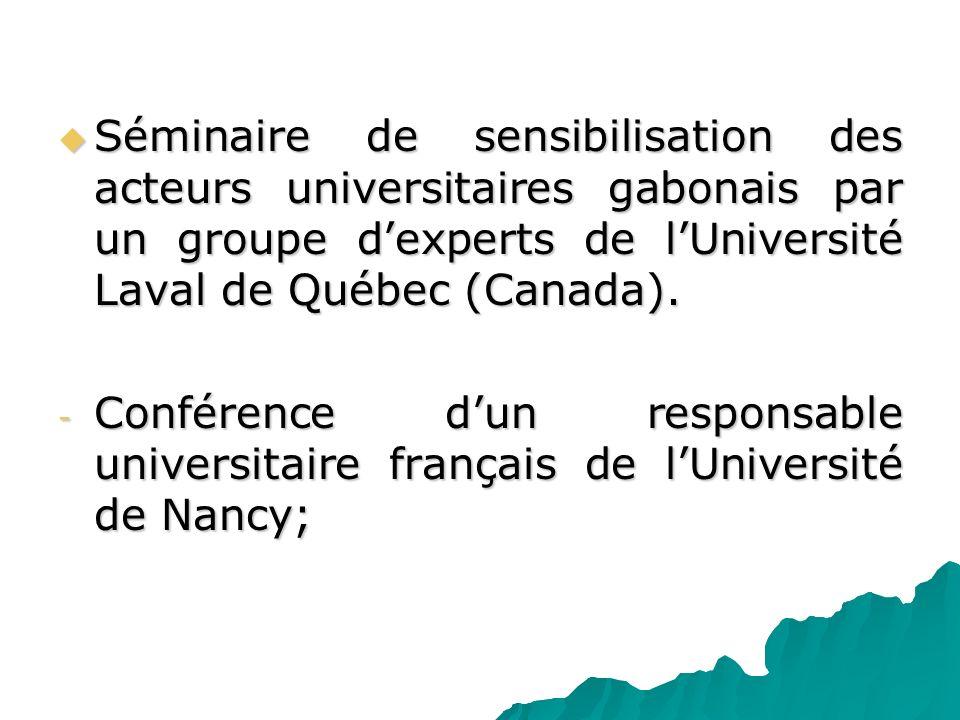 Séminaire de sensibilisation des acteurs universitaires gabonais par un groupe dexperts de lUniversité Laval de Québec (Canada). Séminaire de sensibil