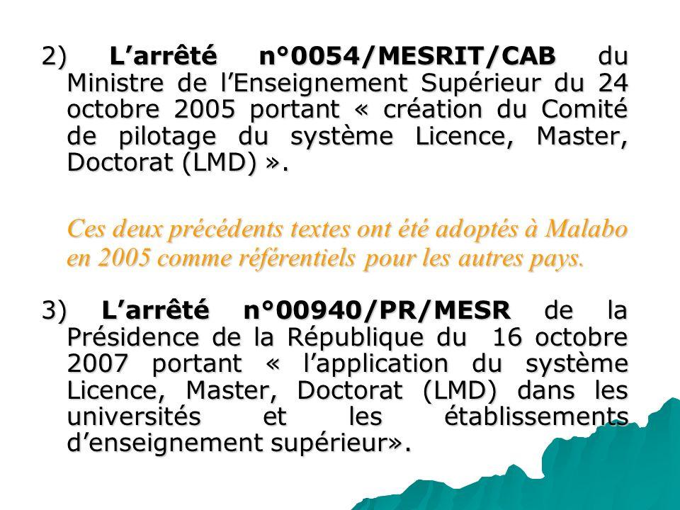 2) Larrêté n°0054/MESRIT/CAB du Ministre de lEnseignement Supérieur du 24 octobre 2005 portant « création du Comité de pilotage du système Licence, Ma