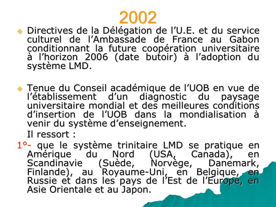 2002 Directives de la Délégation de lU.E. et du service culturel de lAmbassade de France au Gabon conditionnant la future coopération universitaire à