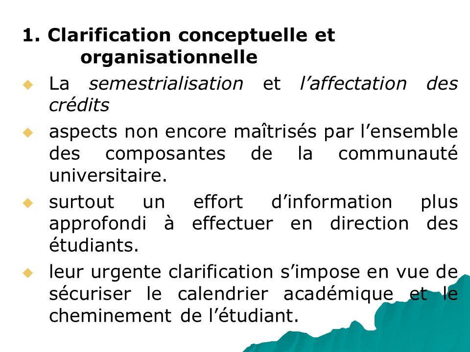 1. Clarification conceptuelle et organisationnelle La semestrialisation et laffectation des crédits aspects non encore maîtrisés par lensemble des com