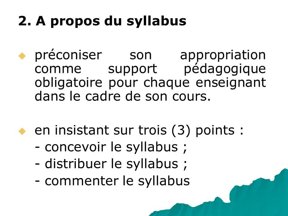2. A propos du syllabus préconiser son appropriation comme support pédagogique obligatoire pour chaque enseignant dans le cadre de son cours. en insis