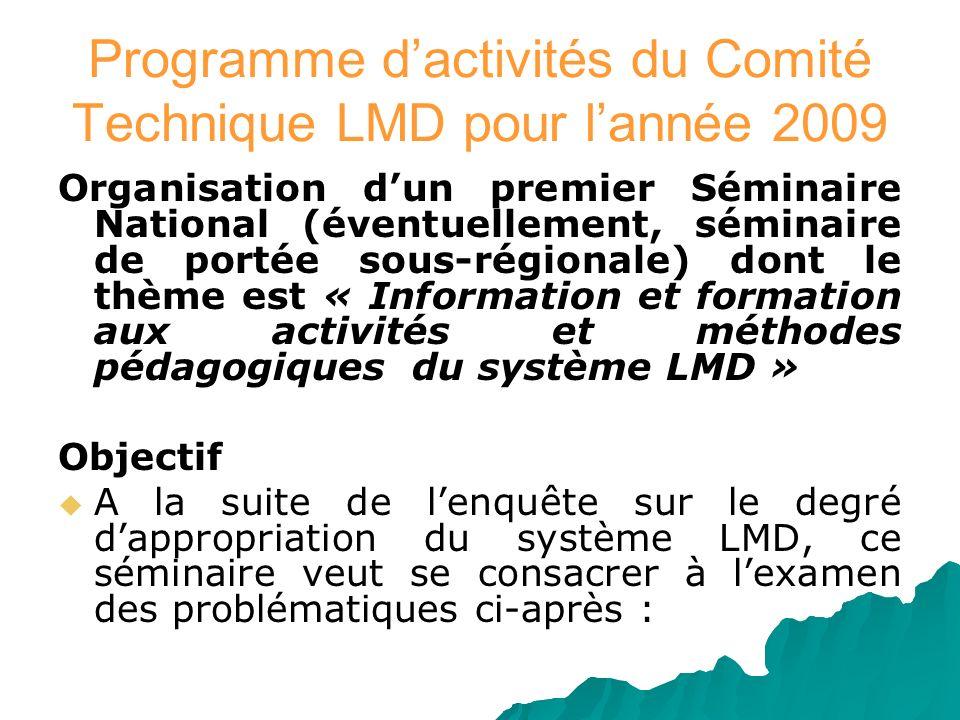 Programme dactivités du Comité Technique LMD pour lannée 2009 Organisation dun premier Séminaire National (éventuellement, séminaire de portée sous-ré