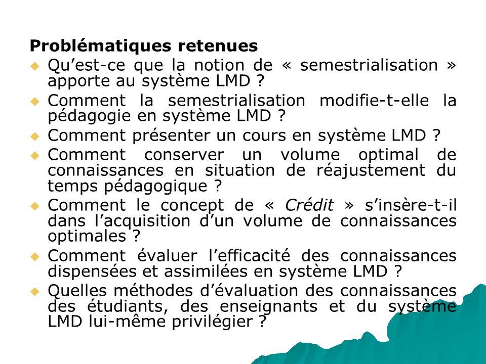 Problématiques retenues Quest-ce que la notion de « semestrialisation » apporte au système LMD ? Comment la semestrialisation modifie-t-elle la pédago