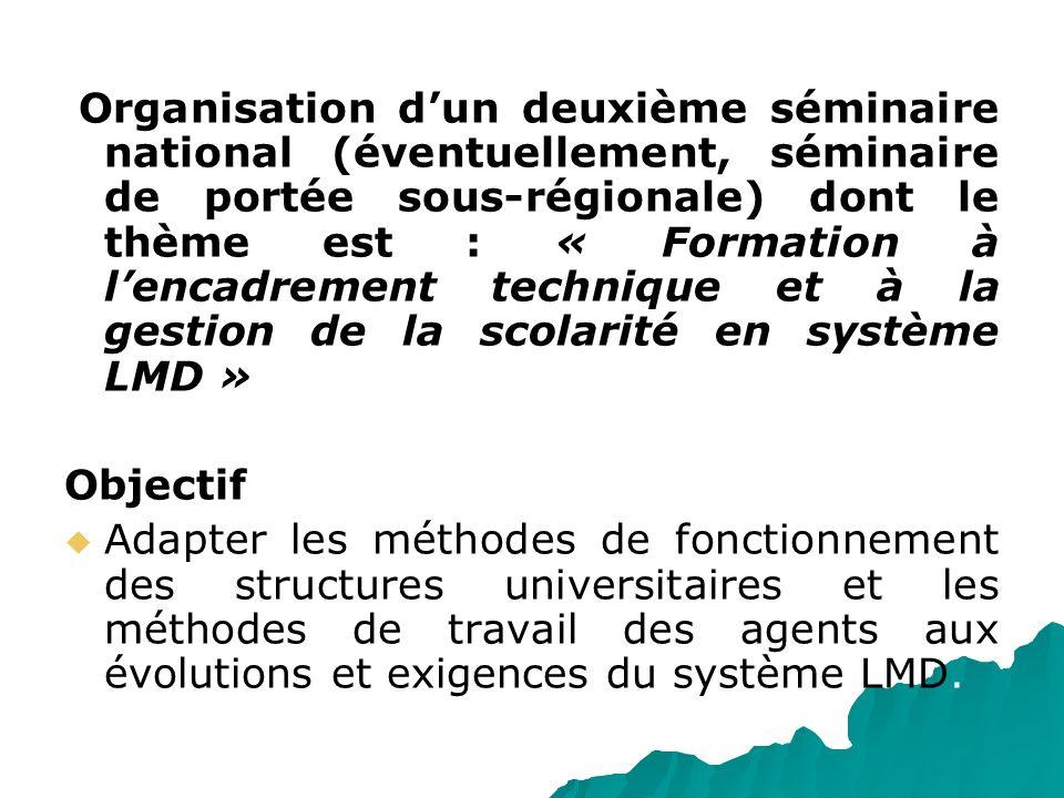 Organisation dun deuxième séminaire national (éventuellement, séminaire de portée sous-régionale) dont le thème est : « Formation à lencadrement techn