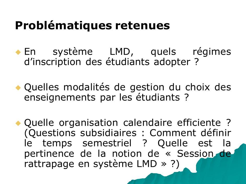 Problématiques retenues En système LMD, quels régimes dinscription des étudiants adopter ? Quelles modalités de gestion du choix des enseignements par