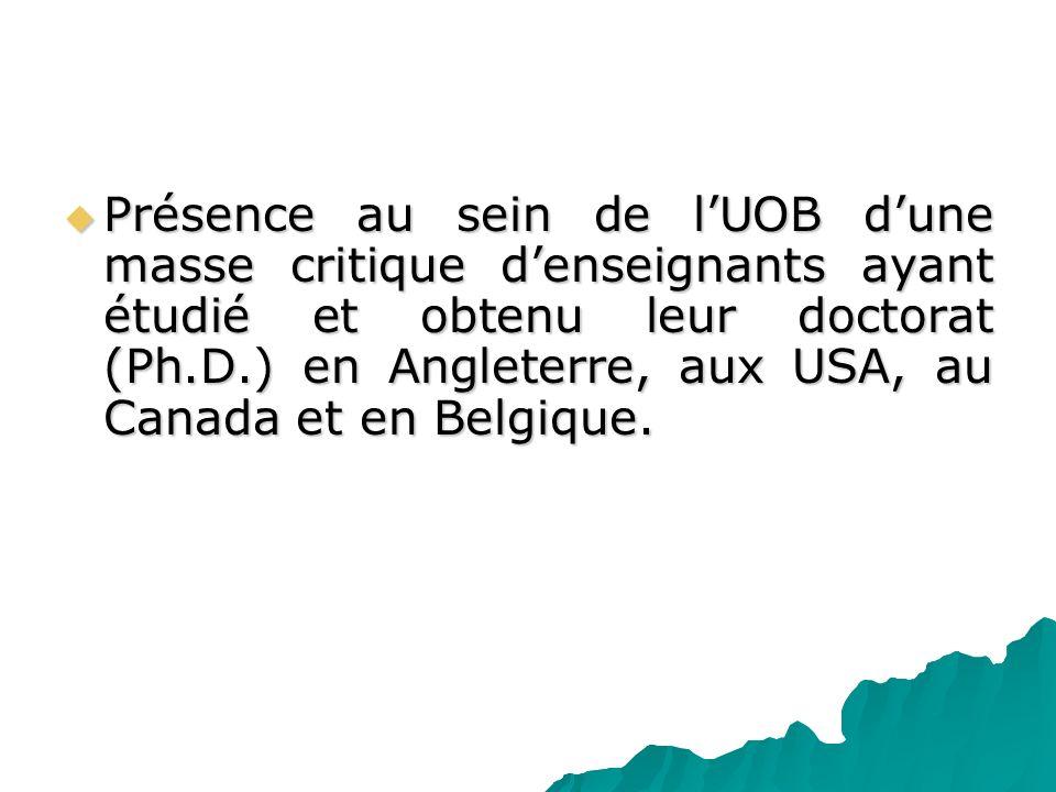 Présence au sein de lUOB dune masse critique denseignants ayant étudié et obtenu leur doctorat (Ph.D.) en Angleterre, aux USA, au Canada et en Belgiqu